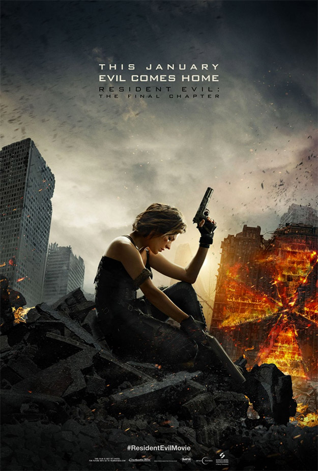 Y otro cartel más de Resident Evil: The Final Chapter, a lo bestia