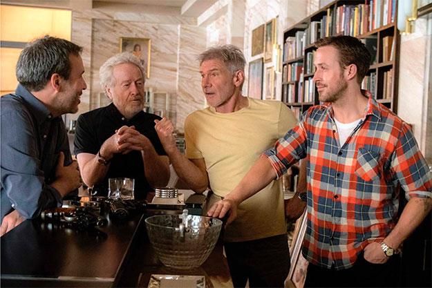 Denis Villeneuve, director, Ridley Scott, productor, y los protagonistas Harrison Ford y Ryan Gosling, Blade Runner 2049