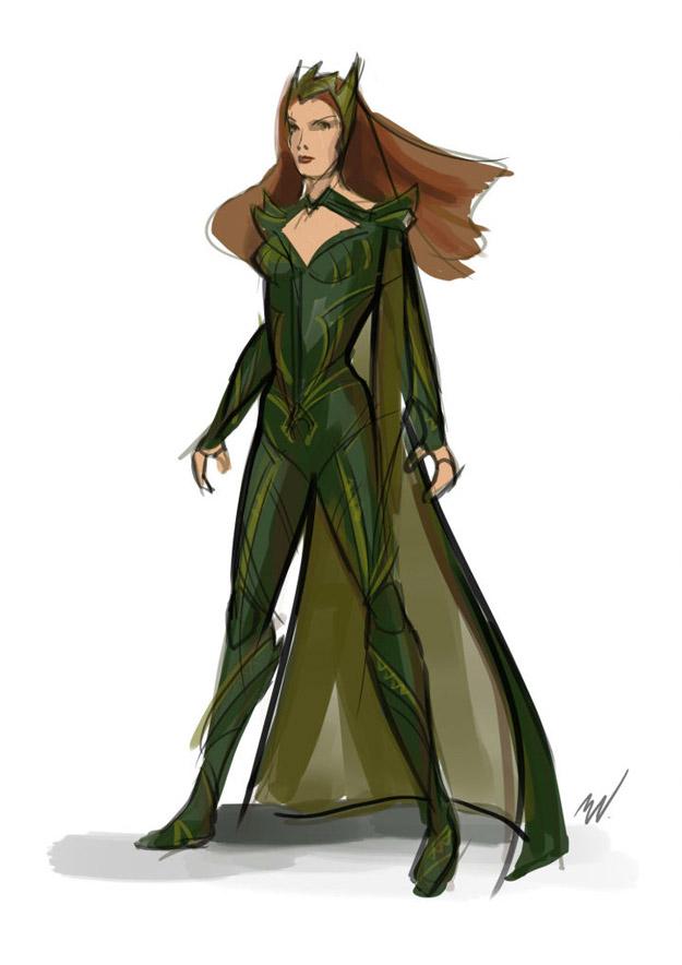 Diseño preliminar del traje de Mera para Justice League
