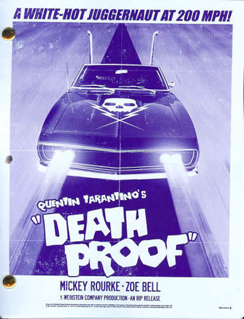 Portada del guión de Death Proof