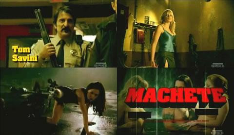 "Fotogramas del trailer de Grindhouse: Tom Savini, Marley Shelton, Rose McGowan y ""Machete"""