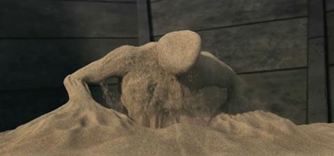 Flint Marko se mete en un aparato de modificación física de partículas y se convierte en Sandman