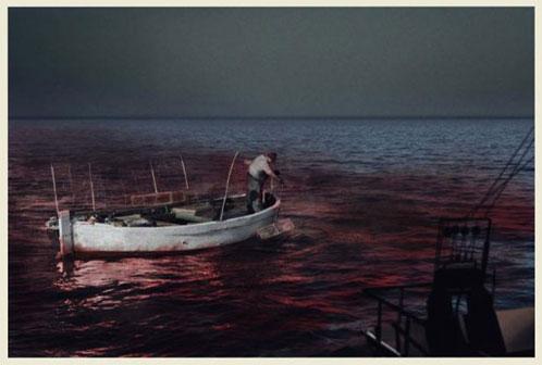 Pescador sobre mar rojo...