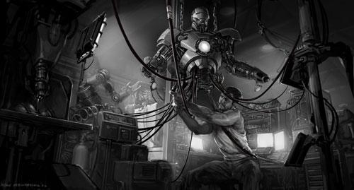 Sketch de Iron Monger vs. Iron Man creado por Adi Granov
