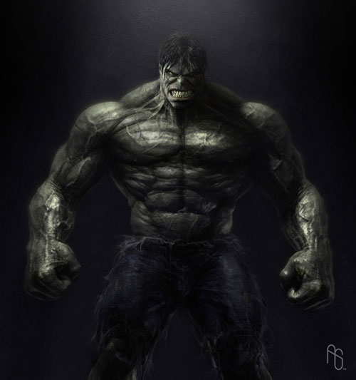 Una de las primeras propuestas de Hulk creada por Aaron Sims