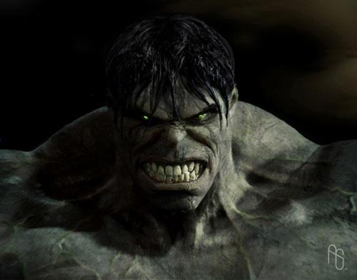 Primer plano de un Hulk mucho más agresivo que fue desechado