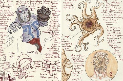 Dos de las páginas del diario de Guillermo del Toro para Hellboy II: El Ejército Dorado