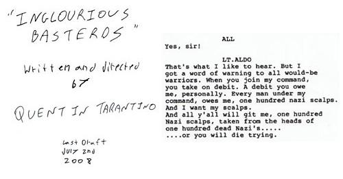 Primera página y retazo del diálogo del guión de Inglorious Basterds por Quentin Tarantino