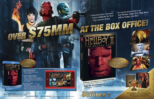 Panfleto para promocionar la salida al mercado del DVD de Hellboy II: El Ejército Dorado en USA