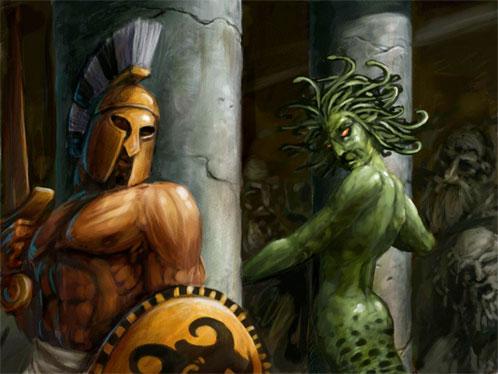 Perseo a punto de dar caza a Medusa