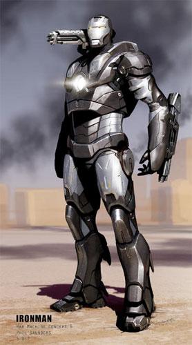 Arte conceptual de War Machine para Iron Man. Obra de Phil Saunders