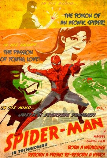 Póster de Spiderman modo vintage