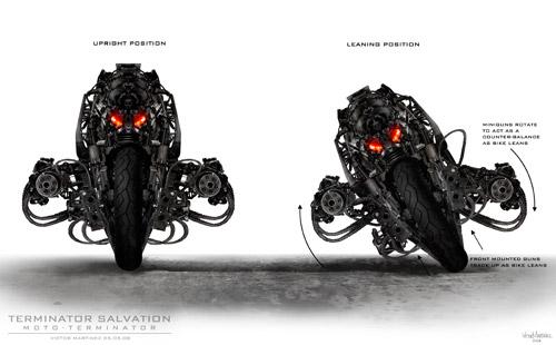 Moto-Terminator en modo recto y tomando una curva
