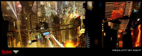 """""""Mega-city por la noche"""", arte conceptual de Judge Dredd por Jock"""