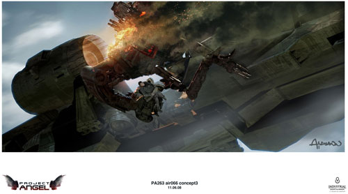 Arte conceptual de Terminator Salvation. Prueba de transportador con humano