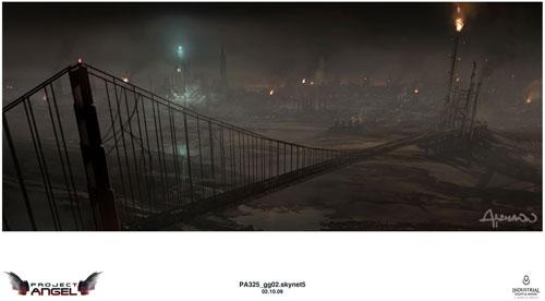 Arte conceptual de Terminator Salvation. San Francisco... Skynet