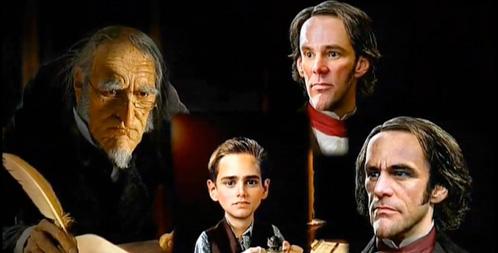 Jim Carrey como Ebenezer Scrooge en cuatro etapas de su vida