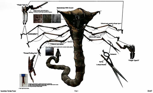 Diseño de las criaturas de 9: la costurera