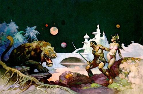 John Carte y Dejah Thoris en Marte (Frank Frazetta)
