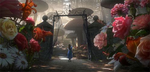 Alicia a la entrada del territorio de las setas... donde vive la oruga que fuma shisha