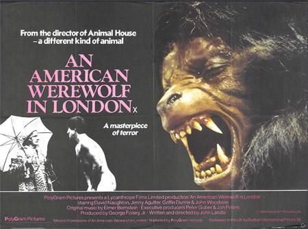 """Póster británico de """"Un hombre lobo americano en Londres"""""""