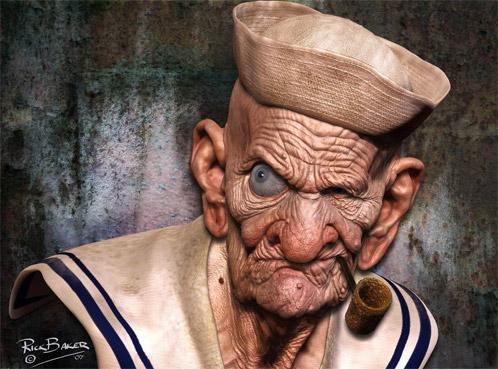 Popeye digital creado por el maestro de los FX Rick Baker