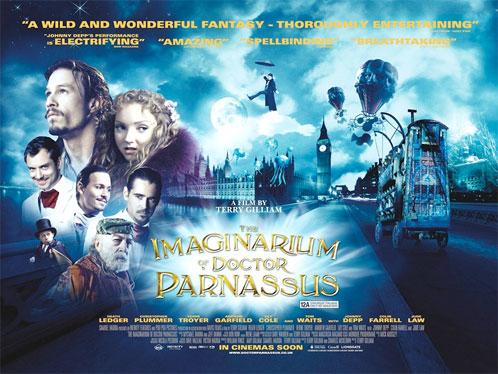 Póster británico de El imaginario del Doctor Parnassus